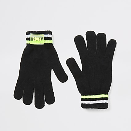 Boys black RVR knitted gloves