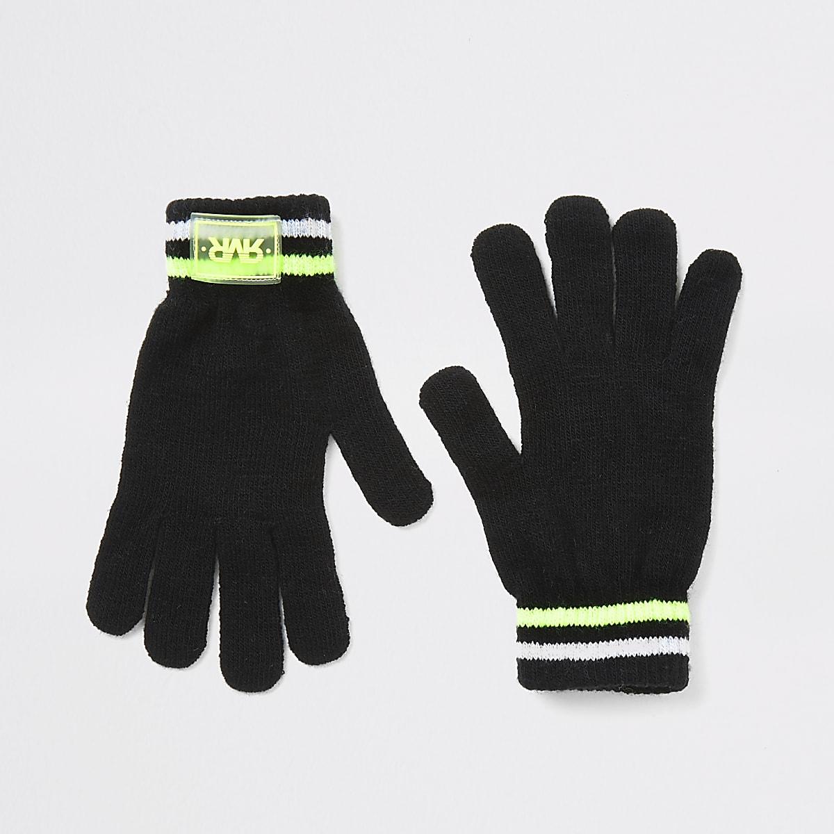 Boys black RVR knitted gloves