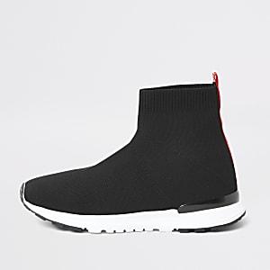 Zwarte 'MLXXVII' sok sneakers voor jongens