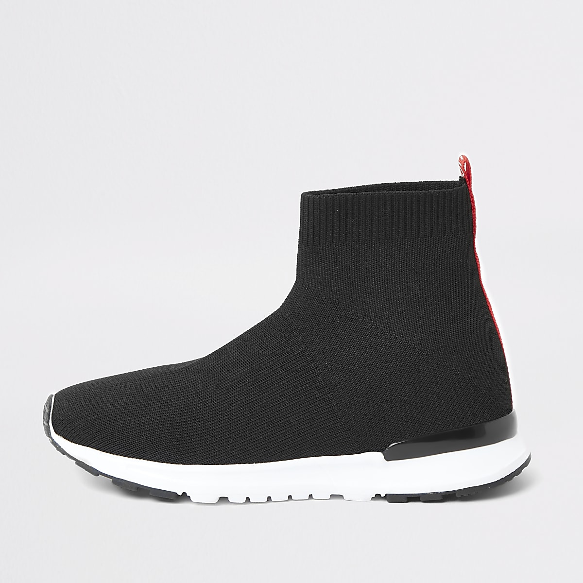 Boys black 'MLXXVII' sock runner trainers