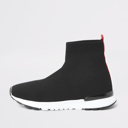 Boys black MLXXVII sock runner trainers