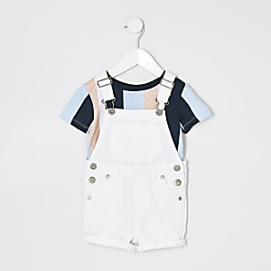 Mini boys white short dungaree T-shirt outfit