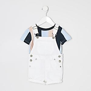 Mini - Outfit met witte korte tuinbroek met T-shirt voor jongens