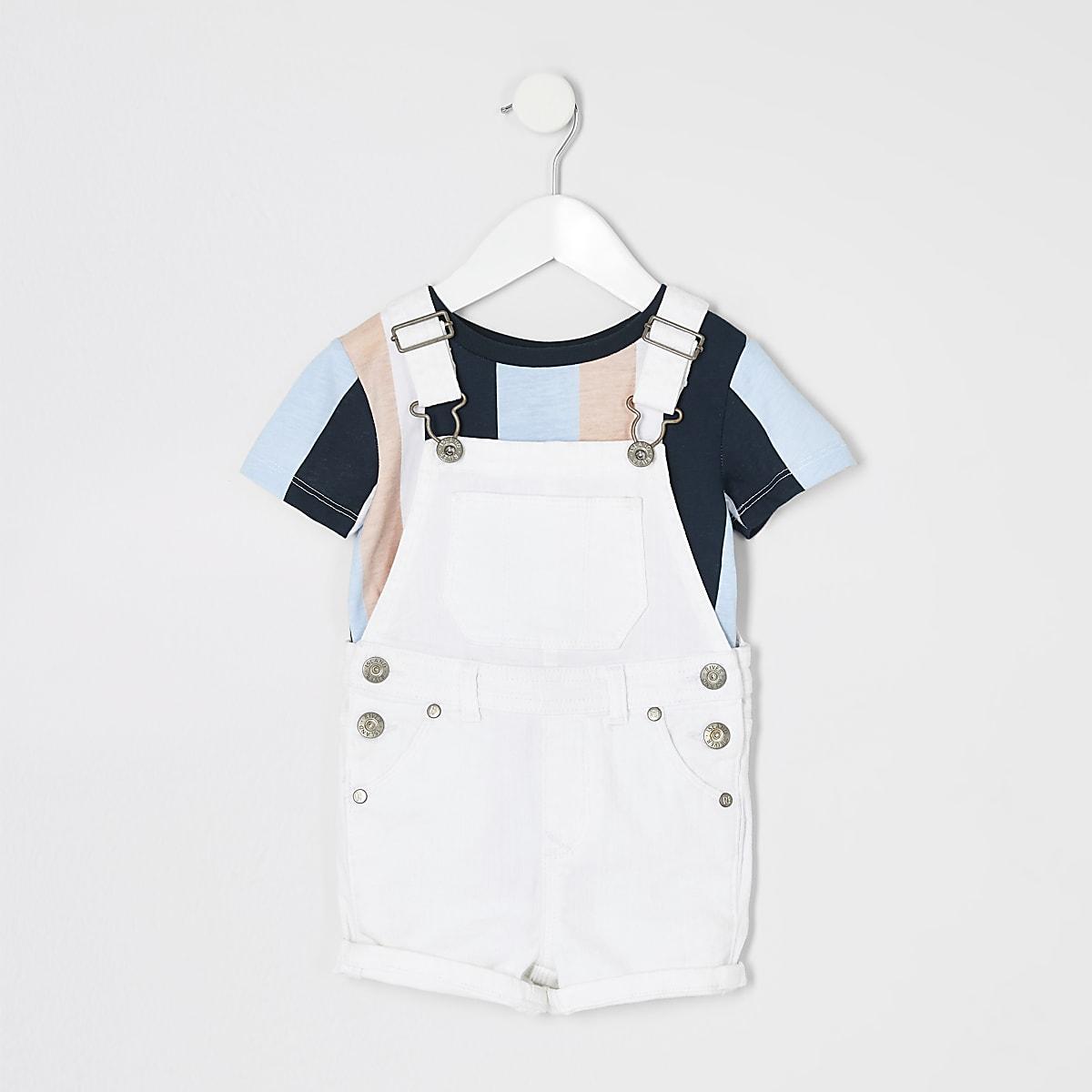 Ensemble t-shirt et salopette courte blanche mini garçon