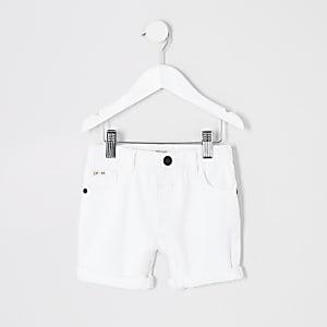 Mini boys white denim shorts