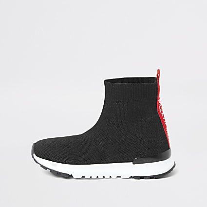 Mini boys black 'MLXXVII' sock trainers