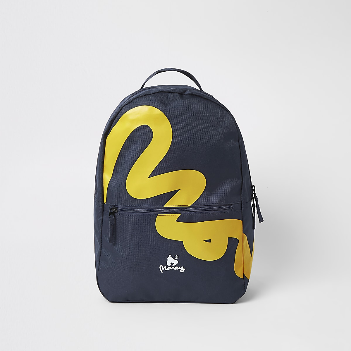 Boys black Money Clothing logo backpack
