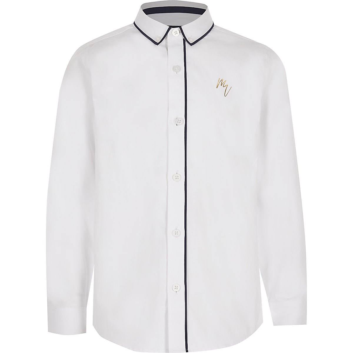 Boys white Maison Riviera piped shirt