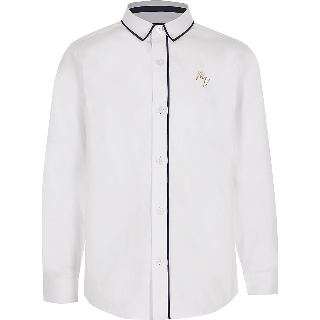Boys white Maison Riviera piped shirt