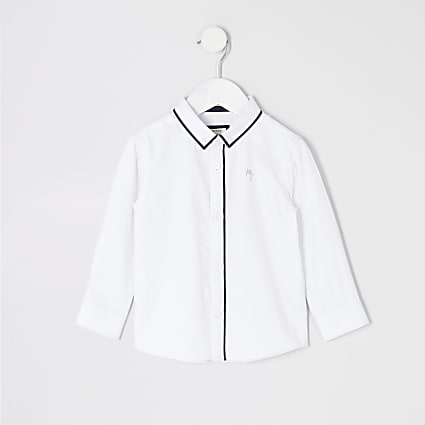 Mini boys white long sleeve piped shirt