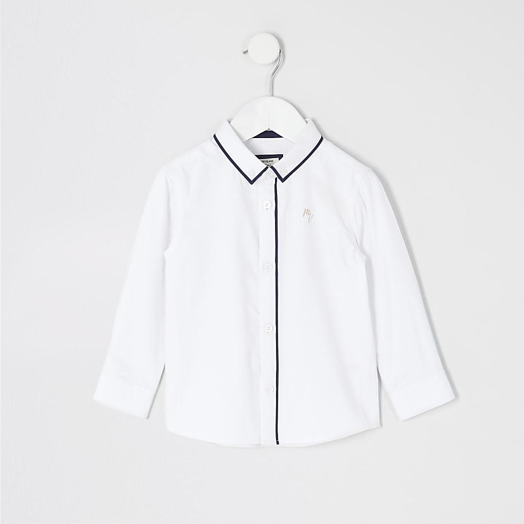 Mini boys white long sleeve piped shirt