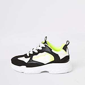 Zwarte stevige sneakers met neonkleuren en vetersluiting voor jongens
