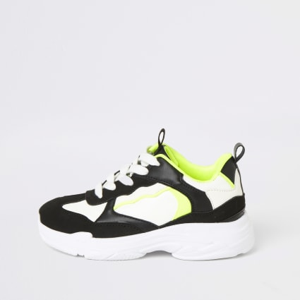 Boys black neon chunky lace-up trainers