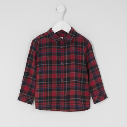 Mini boys red check print long sleeve shirt