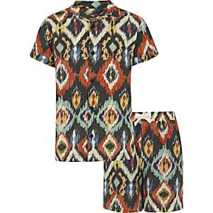 Outfit met bruin overhemd met Aztekenprint voor jongens