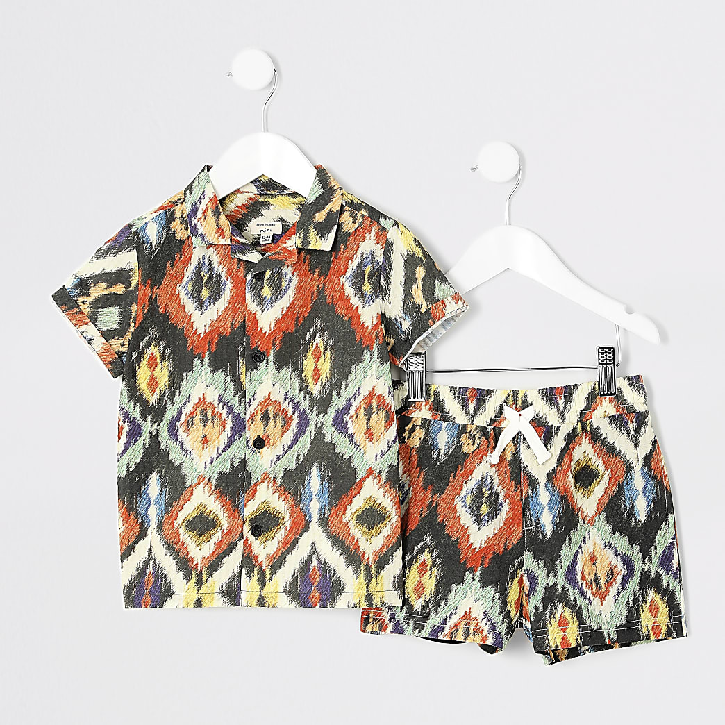 Mini boys brown aztec print shirt outfit