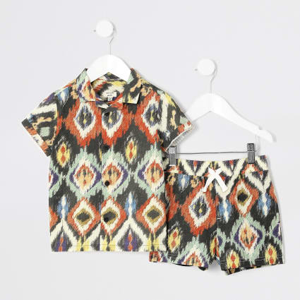 Mini boys brown aztec print shirt outfit