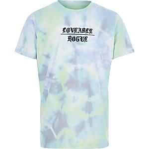 T-shirt bleu imprimé tie and dye pour garçon