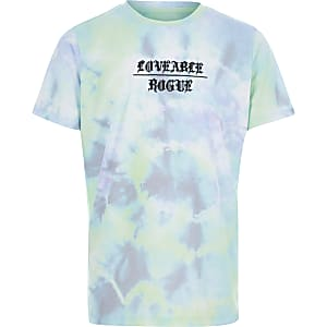 Blauw T-shirt met tie-dye print voor jongens