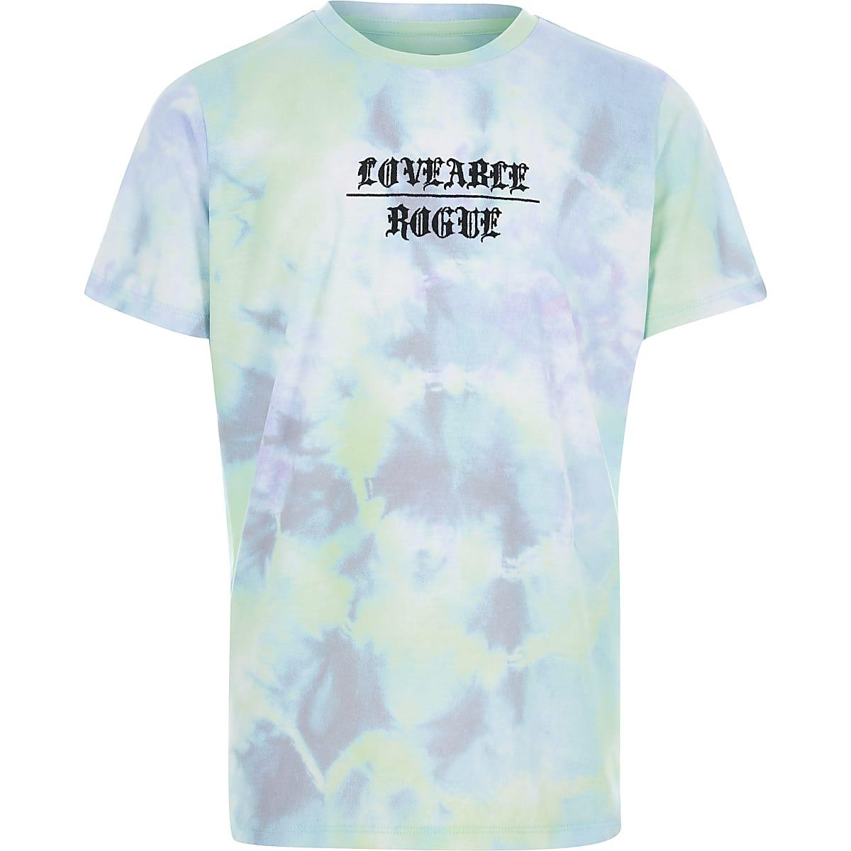Boys blue tie dye print T-shirt