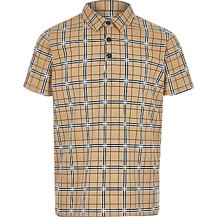 Boys stone check print polo shirt