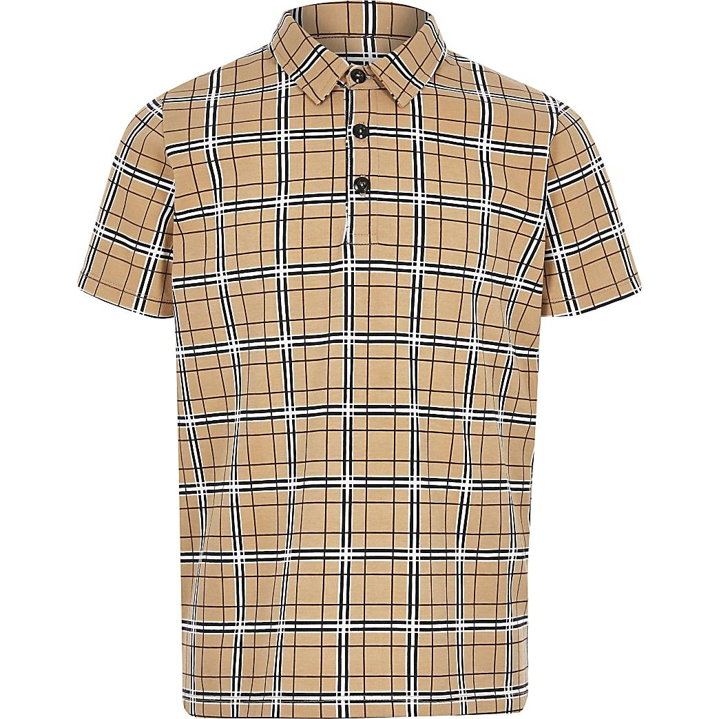 Boys stone check print polo shirt