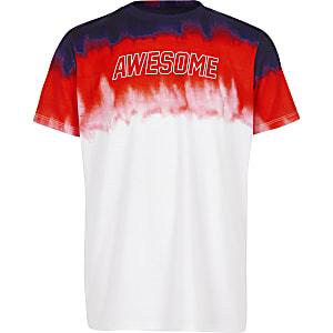 Rood T-shirt met vervagende print voor jongens