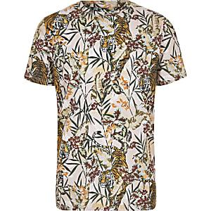 Kiezelkleurig T-shirt met tijgerprint voor jongens