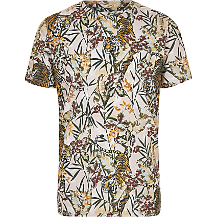 Boys stone tiger print T-shirt