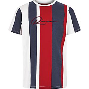 Marineblauw gestreept T-shirt met 'River'-print voor jongens