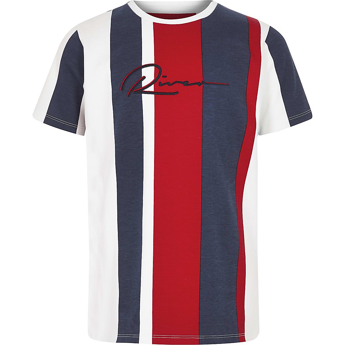 Boys navy stripe 'River' T-shirt
