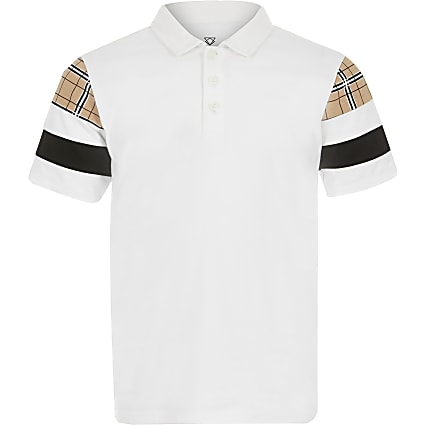 Boys white blocked polo