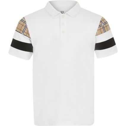 Boys white blocked polo shirt
