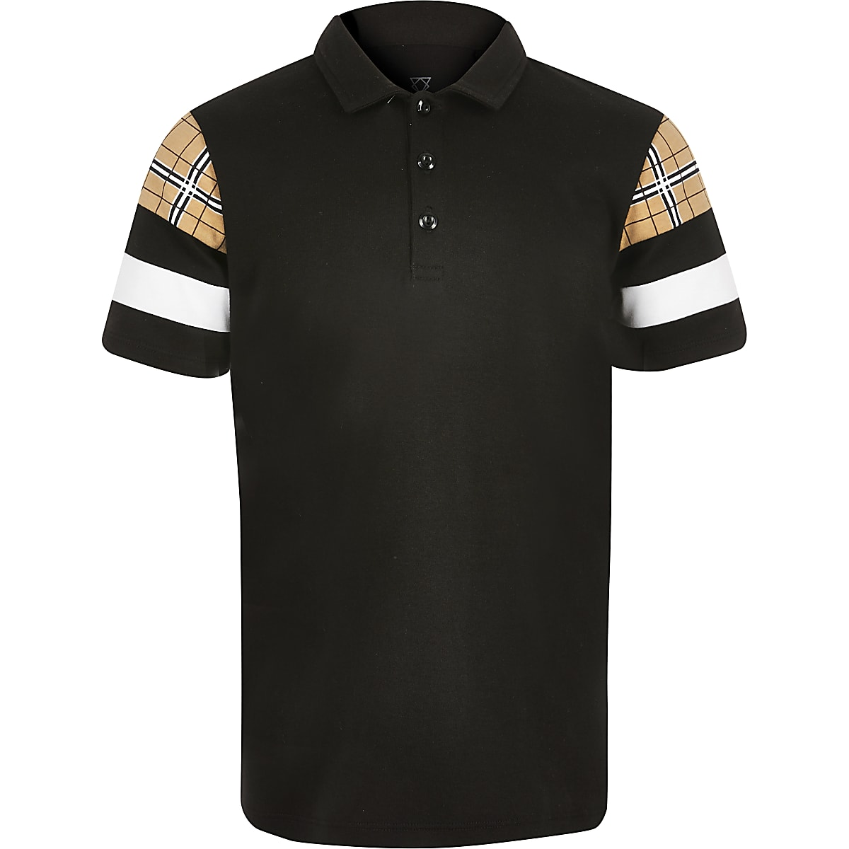 Boys black blocked polo