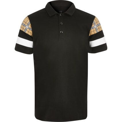 Boys black blocked polo shirt