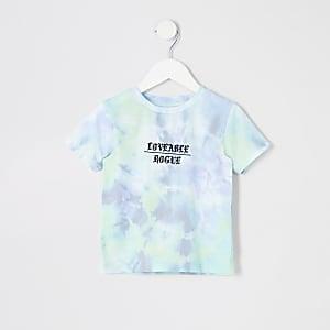 Blaues, gebatiktes T-Shirt
