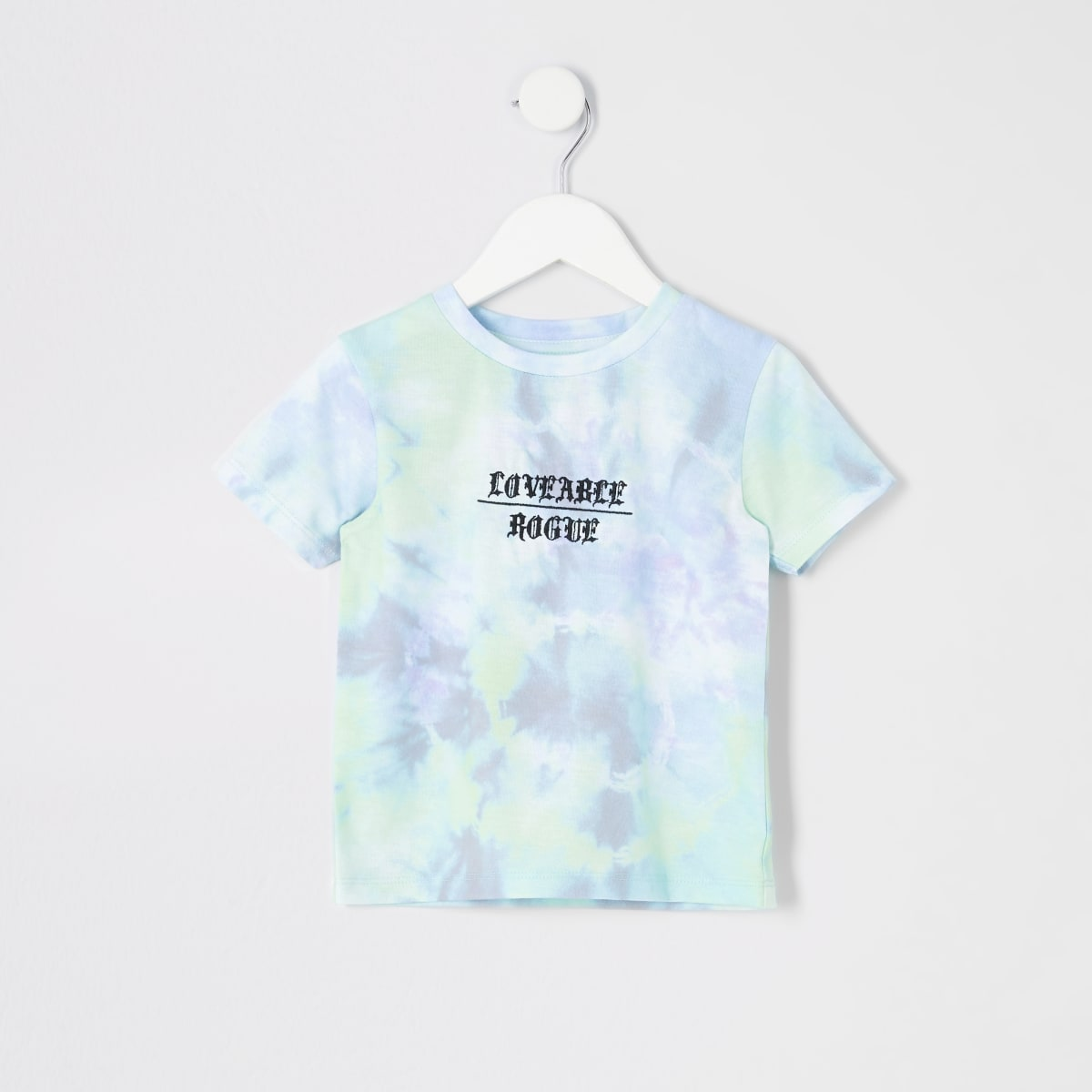 Mini boys blue tied dye print T-shirt