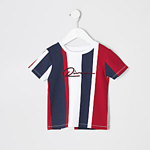 Mini - Marineblauw gestreept T-shirt met R-logo voor jongens