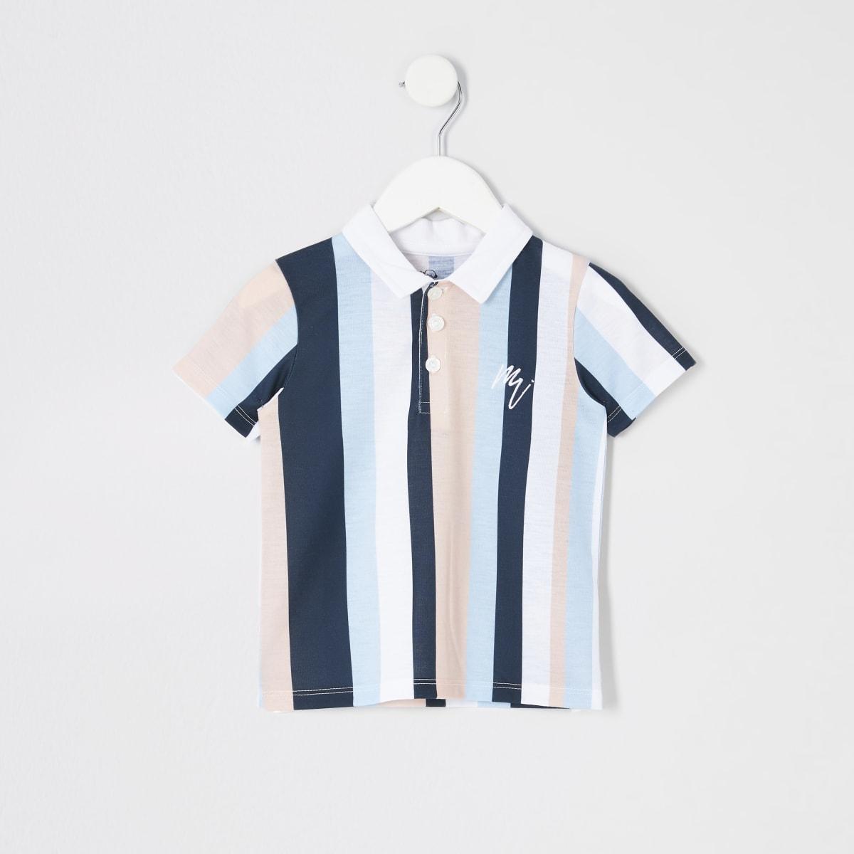 Mini boys white stripe polo shirt