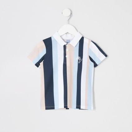 Mini boys white stripe polo shirt