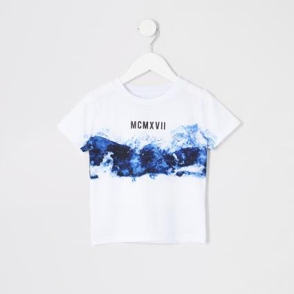 Mini boys grey smoke fade T-shirt