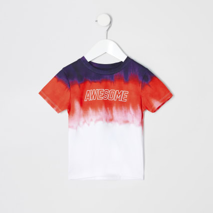 Mini boys red faded T-shirt