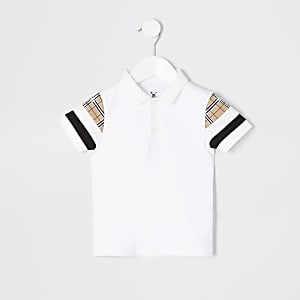 Mini boys white blocked polo