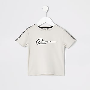 Mini - Kiezelkleurig T-shirt met RI-print voor jongens