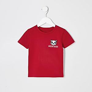Mini - Rood T-shirt met panda voor jongens