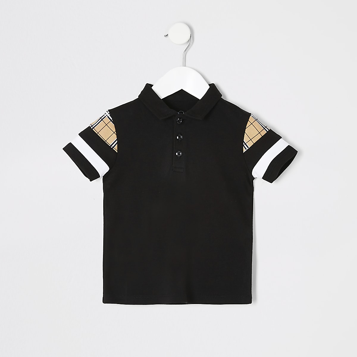 Mini boys black blocked polo shirt