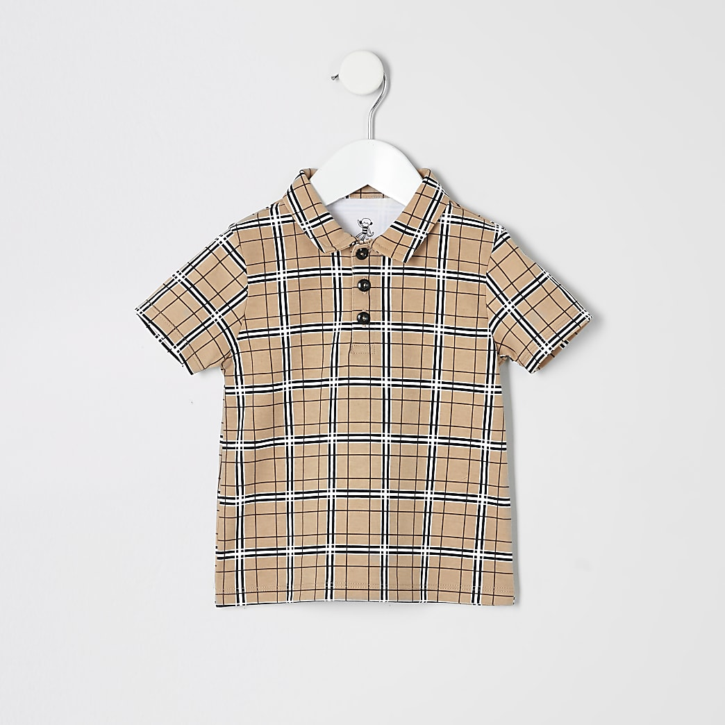 Mini boys stone check print polo shirt