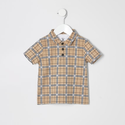 Mini boys stone check print polo shirt