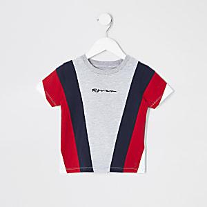 Mini - Grijs T-shirt met kleurvlakken voor jongens
