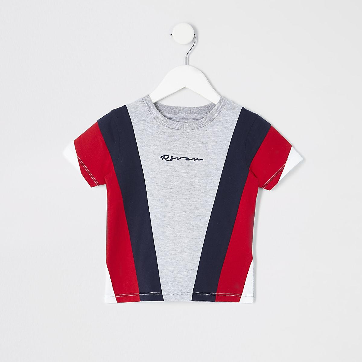 Mini boys grey block T-shirt
